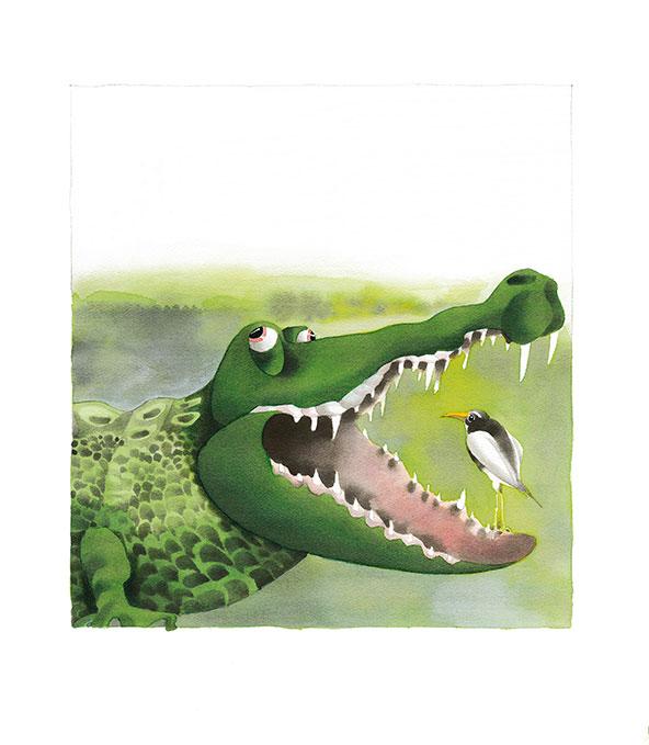 Motiv Krokodil-Vogel für Tierpark Hellabrunn
