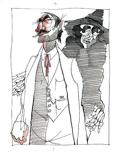 Illustration zum Buch -die Grattler-Oper- der Tod
