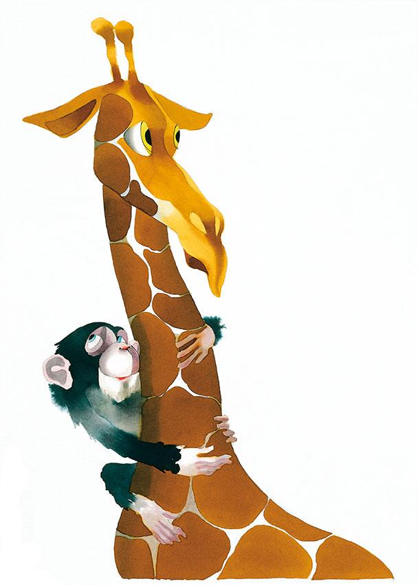 Motiv Affe-Giraffe für Tierpark Hellabrunn