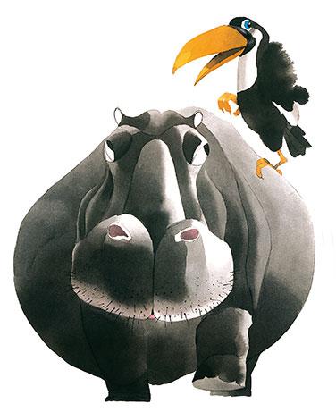 Motiv Nilpferd-Tukan für Tierpark Hellabrunn