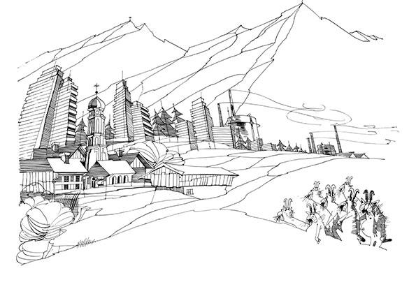 Wolpertinger schauen sich neue alpenländische Architektur an