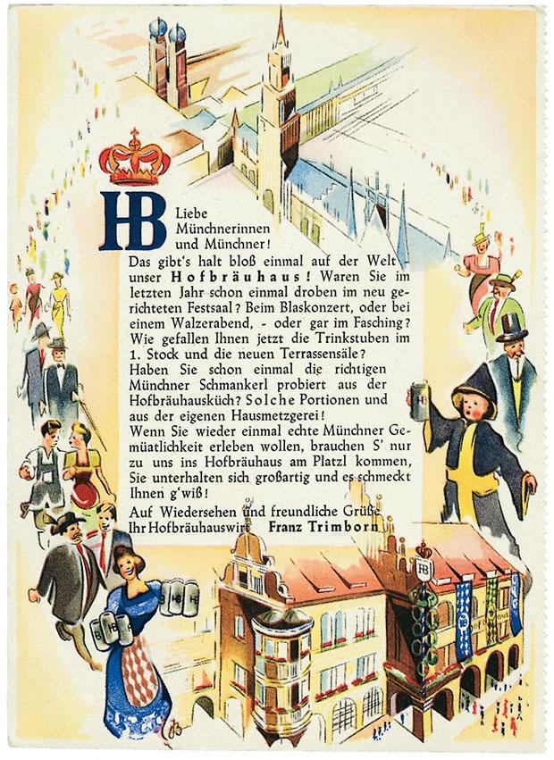 Werbeblatt für's Hofbräuhaus aus den 50er Jahren
